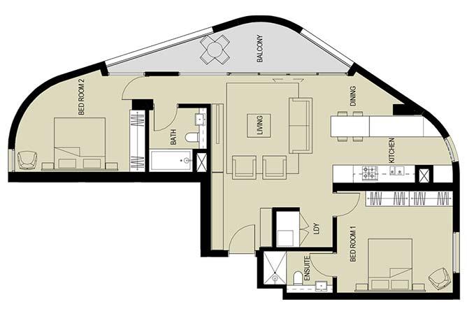 Meera Towers Floor Plan 2 Bedroom Apartment Type a 1281