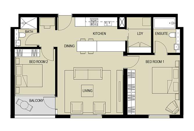 Meera Towers Floor Plan 2 Bedroom Apartment Type b 1033
