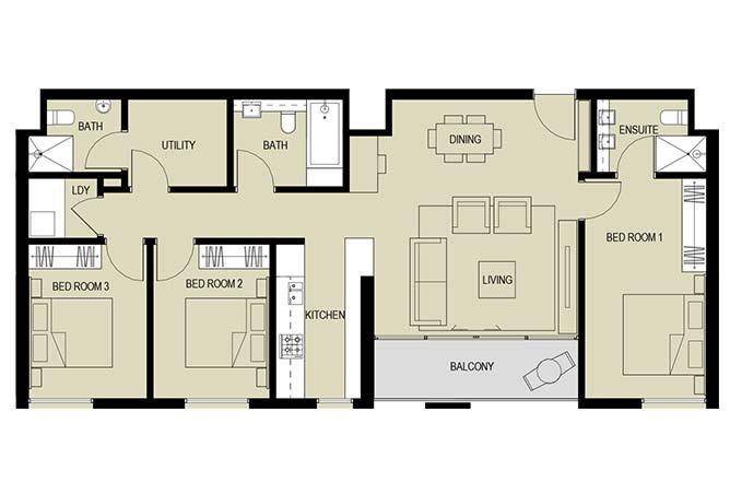 Meera Towers Floor Plan 3 Bedroom Apartment Type d 1385