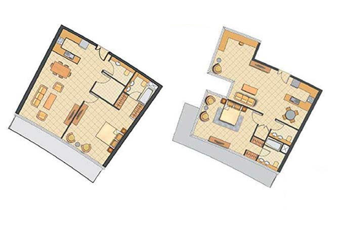 Oceanscape Floor Plan 1 Bedroom Apartment