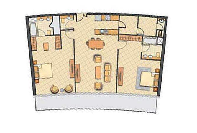 Oceanscape Floor Plan 2 Bedroom Apartment