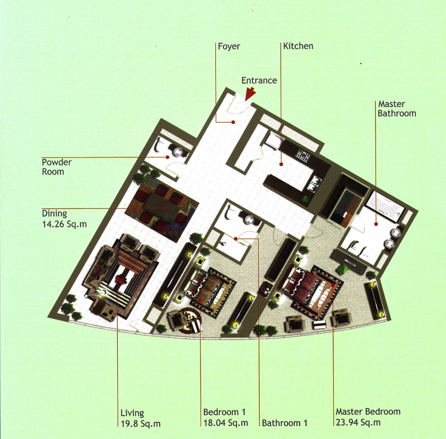 Rak Tower Floor Plan 2 Bedroom Flat Type E