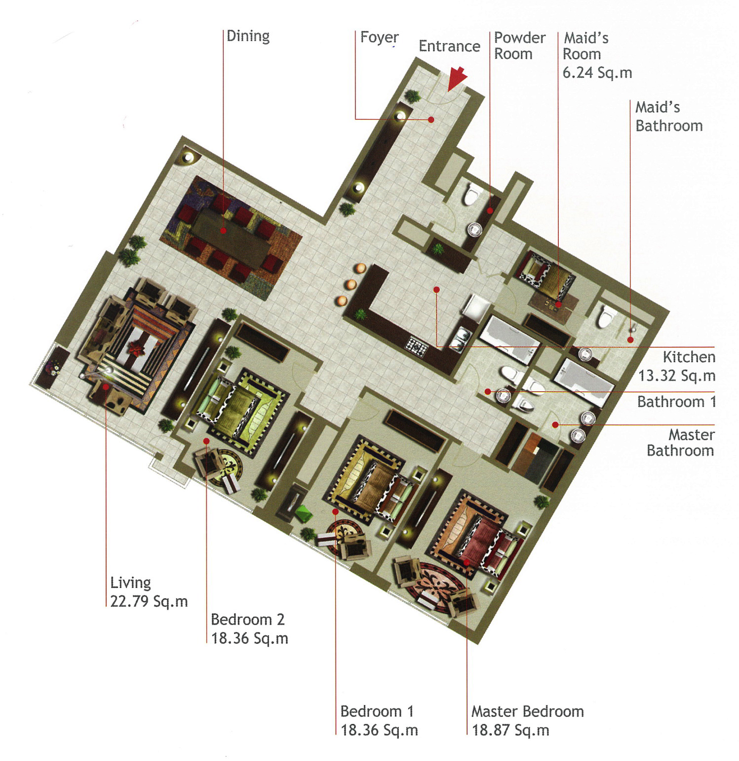 Rak Tower Floor Plan 3 Bedroom Flat Type C