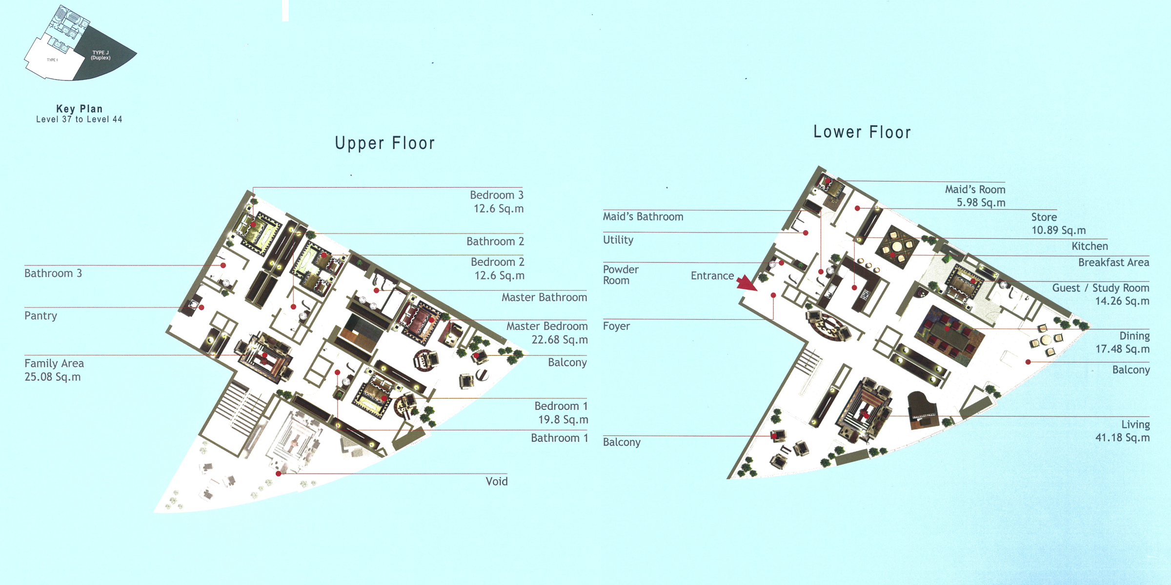 Rak Tower Floor Plan 4 Bedroom Flat Type J