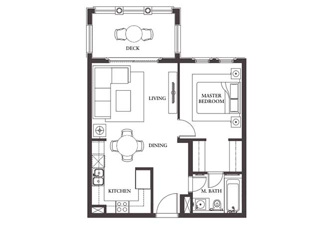 Saadiyat Beach Residences Floor Plan 1 Bedroom Apartment Type a 738 Sqft