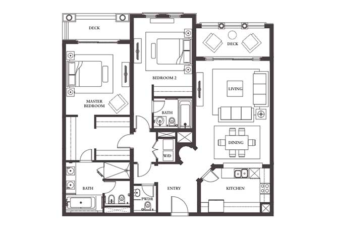 Saadiyat Beach Residences Floor Plan 2 Bedroom Apartment Type c 1575 Sqft
