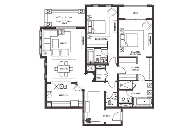 Saadiyat Beach Residences Floor Plan 2 Bedroom Apartment Type c1 1710 Sqft