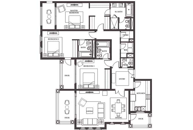 Saadiyat Beach Residences Floor Plan 3 Bedroom Apartment Type d 2093 Sqft