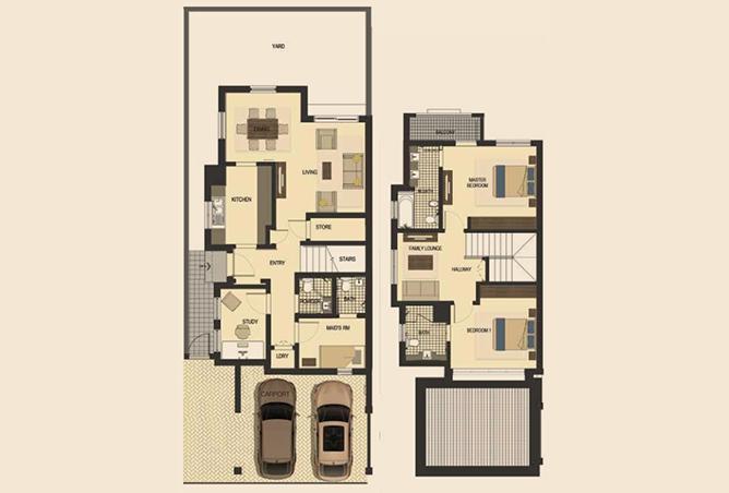 Saadiyat Lagoons Floor Plan 2 Bedroom Townhouse Type e