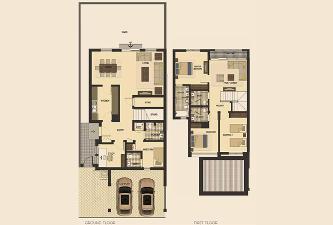 Saadiyat Lagoons Floor Plan 3 Bedroom Townhouse Type m