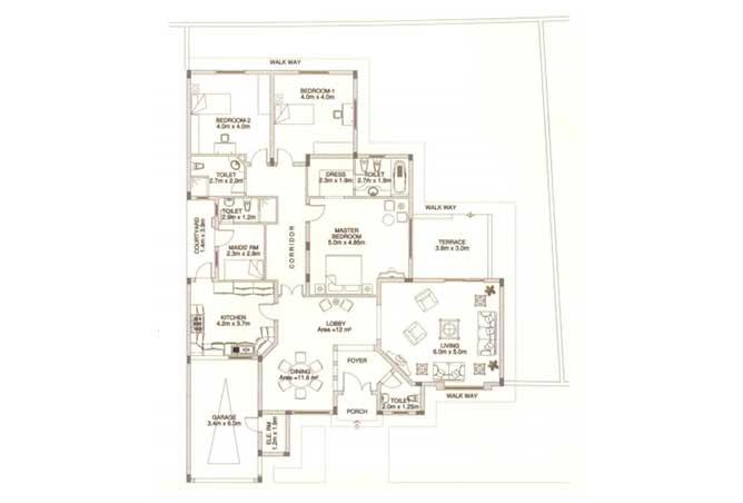 Sas Al Nakhl Village Floor Plan 3 Bedroom Villa Type c1