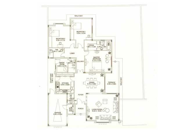 Sas Al Nakhl Village Floor Plan 3 Bedroom Villa Type c2