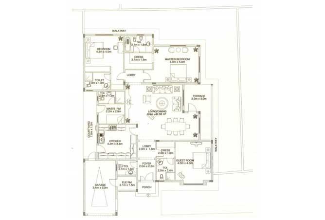 Sas Al Nakhl Village Floor Plan 3 Bedroom Villa Type c3