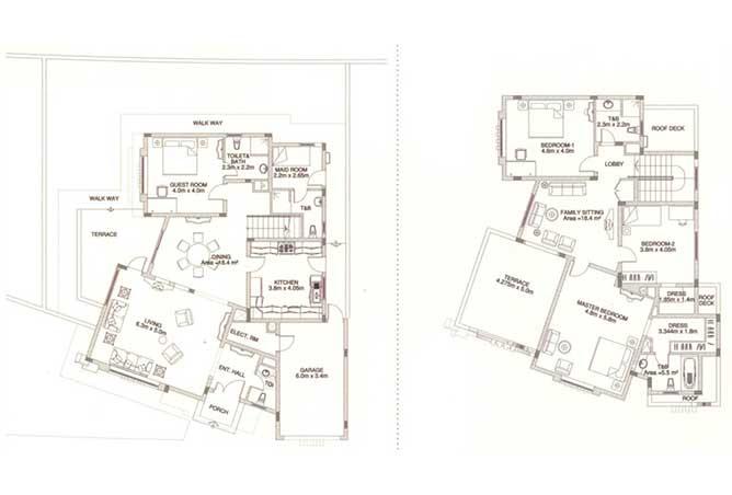 Sas Al Nakhl Village Floor Plan 4 Bedroom Villa Type b1