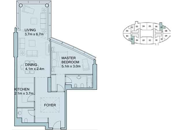 Sky Tower Floor Plan 1 Bedroom Apartment 1107 Sqft