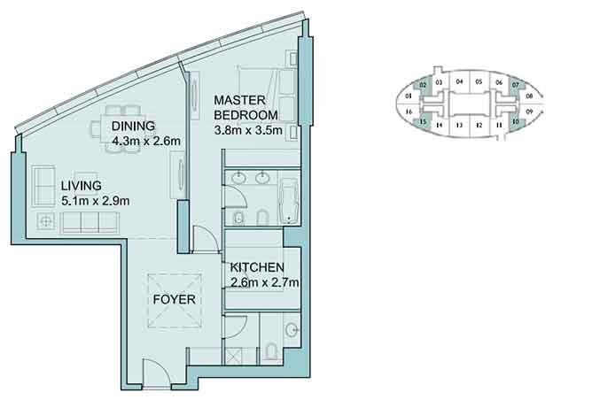 Sky Tower Floor Plan 1 Bedroom Apartment 934 Sqft