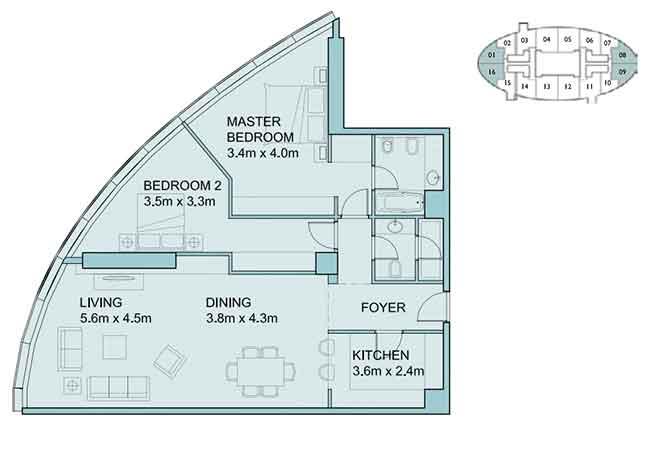 Sky Tower Floor Plan 2 Bedroom Apartment 1338 Sqft