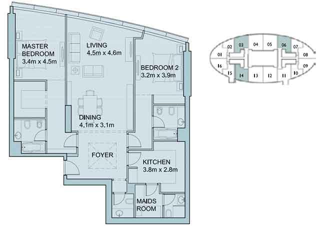 Sky Tower Floor Plan 2 Bedroom Apartment 1461 Sqft