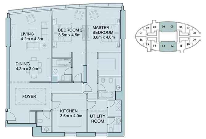 Sky Tower Floor Plan 2 Bedroom Apartment 1719 Sqft