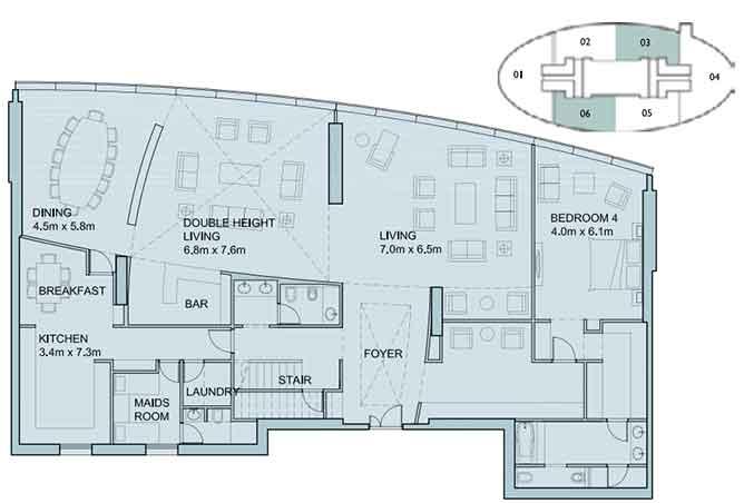 Sky Tower Floor Plan 4 Bedroom Penthouse Duplex 6025 Sqft Type 1