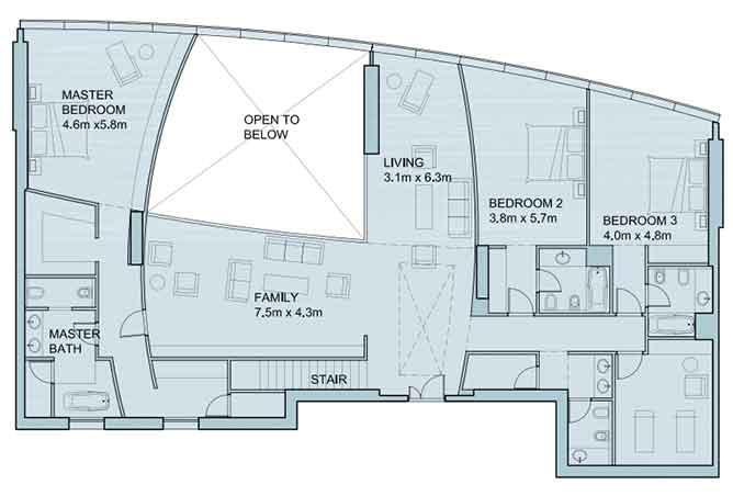 Sky Tower Floor Plan 4 Bedroom Penthouse Duplex 6025 Sqft Type 2