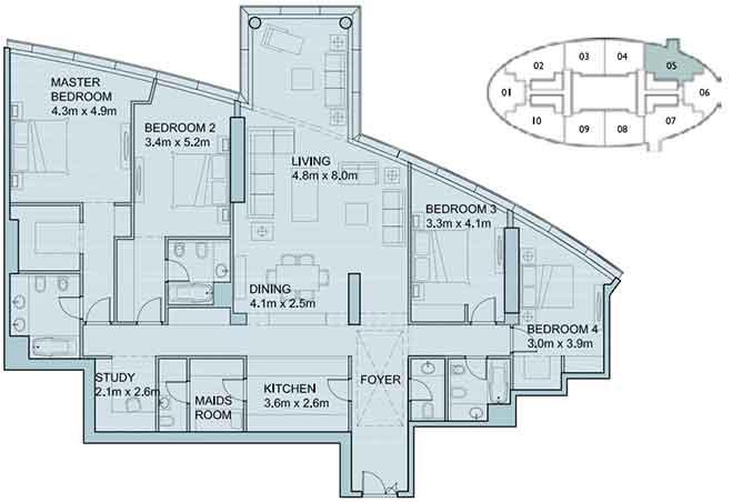 Sky Tower Floor Plan 4 Plus 1 Bedroom Apartment 2568 Sqft Type 1