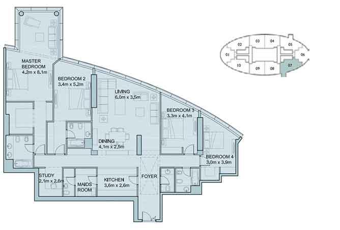 Sky Tower Floor Plan 4 Plus 1 Bedroom Apartment 2587 Sqft Type 2