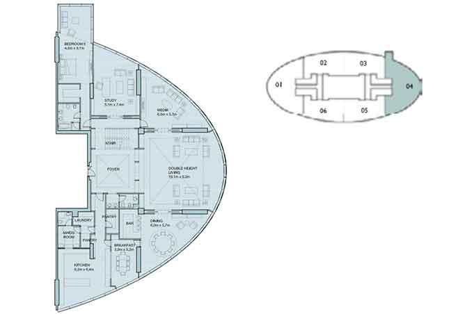 Sky Tower Floor Plan 6 Plus 1 Bedroom Penthouse Duplex 8906 Sqft Type 1