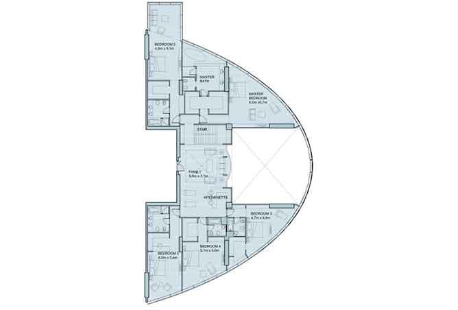 Sky Tower Floor Plan 6 Plus 1 Bedroom Penthouse Duplex 8906 Sqft Type 2
