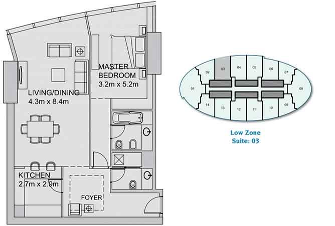 Sun Tower Floor Plan 1 Bedroom Apartment 1060 Sqft