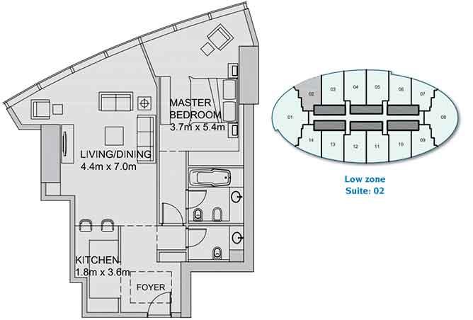 Sun Tower Floor Plan 1 Bedroom Apartment 952 Sqft
