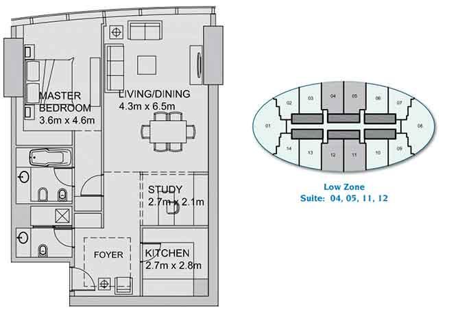 Sun Tower Floor Plan 1 plus 1 Bedroom Apartment 1014 Sqft