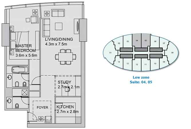 Sun Tower Floor Plan 1 plus 1 Bedroom Apartment 1102 Sqft