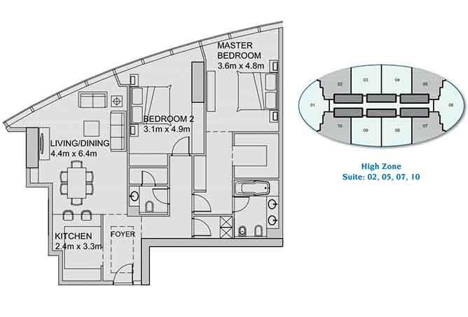 Sun Tower Floor Plan 2 Bedroom Apartment 1300 Sqft