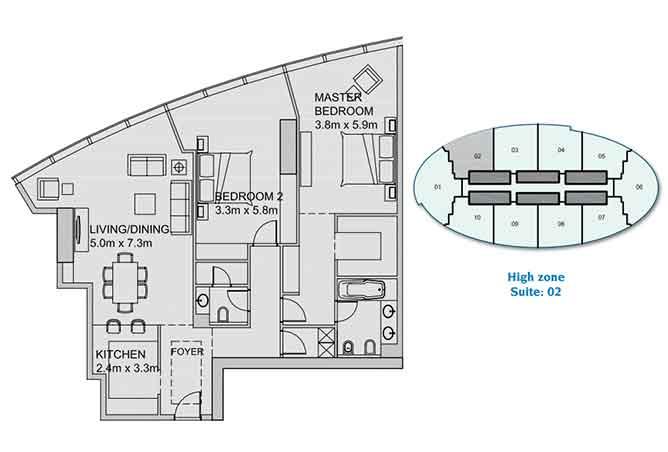 Sun Tower Floor Plan 2 Bedroom Apartment 1460 Sqft