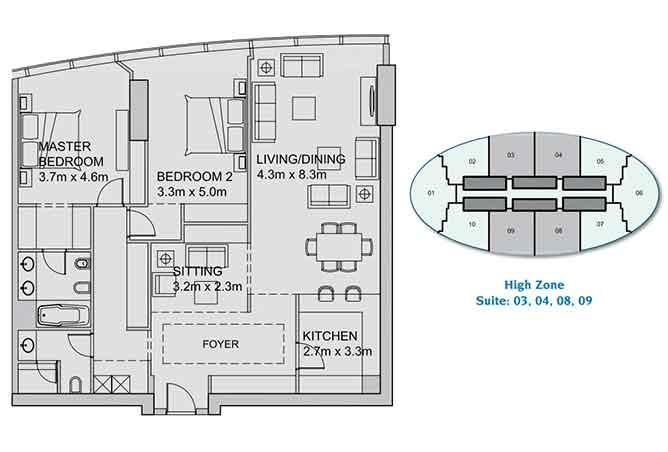 Sun Tower Floor Plan 2 Plus 1 Bedroom Apartment 1565 Sqft