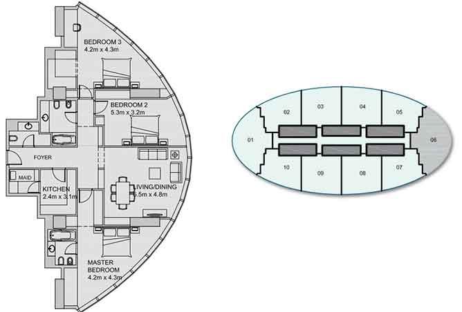 Sun Tower Floor Plan 3 Bedroom Apartment 1744 Sqft Type 2