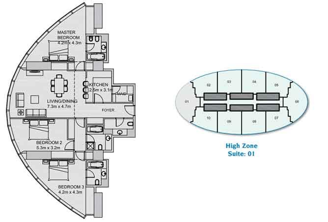 Sun Tower Floor Plan 3 Bedroom Apartment 1744 Sqft
