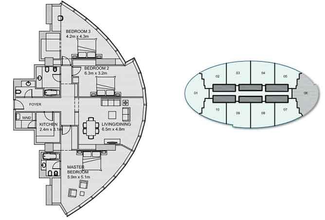 Sun Tower Floor Plan 3 Bedroom Apartment 1972 Sqft Type 2
