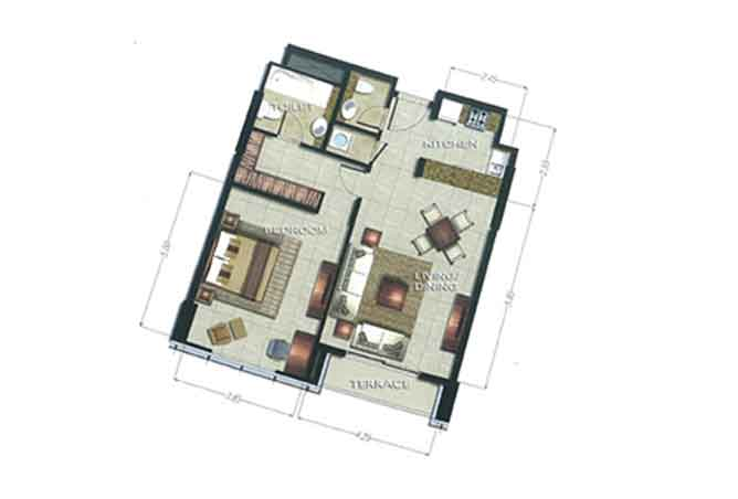 The Arc Floor Plan 1 Bedroom Apartment 1072 Sqft