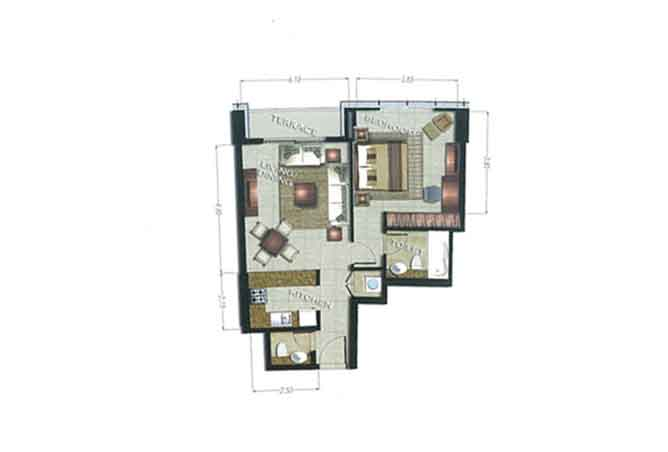 The Arc Floor Plan 1 Bedroom Apartment 919 Sqft