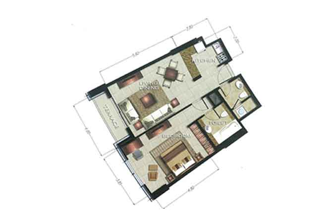 The Arc Floor Plan 1 Bedroom Apartment 986 Sqft