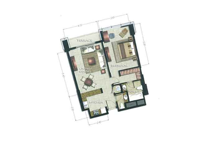 The Arc Floor Plan 1 Bedroom Apartment 988 Sqft