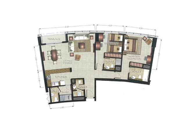 The Arc Floor Plan 2 Bedroom Apartment 1689 Sqft