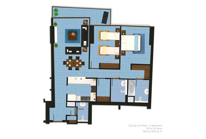 The Wave Floor Plan 2 Bedroom Apartment 1184 1410 Sqft