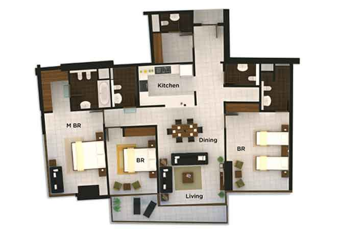 The Wave Floor Plan 3 Bedroom Apartment 1938 Sqft
