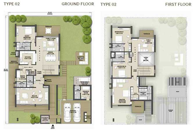 West Yas Floor Plan Villa Type 2b