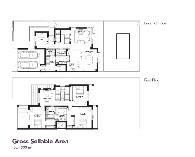 Yas Acres Floor Plan 3 Bedroom Townhouse Type EA