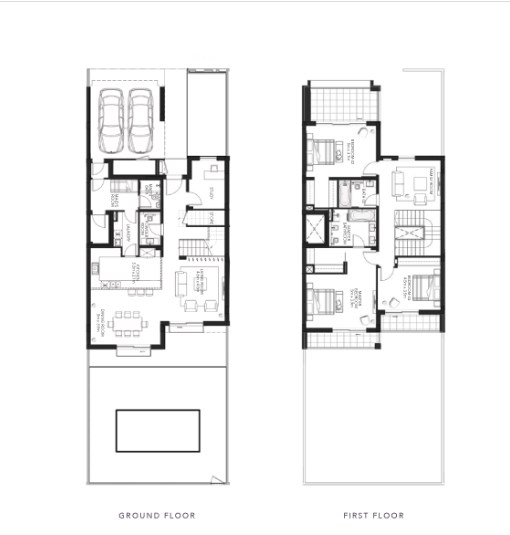 TYPE B 3BR Townhouse Total Gross Sellable Area: 315 m2