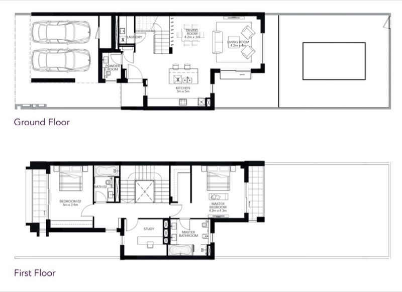 TYPE 2M 2BR Townhouse Total Gross Sellable Area: 217 m2